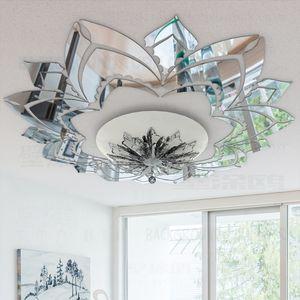 Adornado decorativo de la flor 3d acrílico espejo de pared etiquetas engomadas del techo de la sala decoración del dormitorio de la decoración del sitio Calcomanías R042