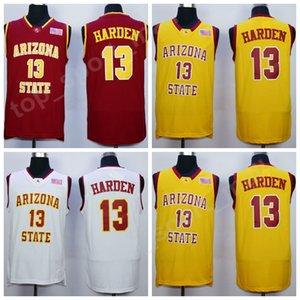 Pas cher 13 James Harden College Jerseys Équipe de basket-ball Arizona State Sun Devils Maillot Rouge Extérieur Jaune Blanc Sport Livraison gratuite