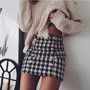 Премиум Новый стиль Высочайшее качество Оригинальный дизайн Женская двубортная классическая юбка Металлические пряжки Houngstooth Tweed Package Waip Minikirt