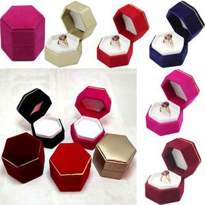 Esagonale anello di barretta portagioie espositore di gioielli anello di velluto contenitore di stoccaggio contenitore per orecchini anello regalo di natale scatole di immagazzinaggio WX9-806