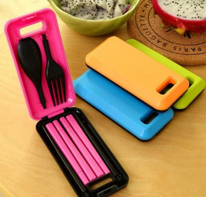 Dinnerware Sets Bright Color Plastic Chopsticks Spoon Fork Three Pieces Tableware Foldable Travel Cutlery Suit Practical