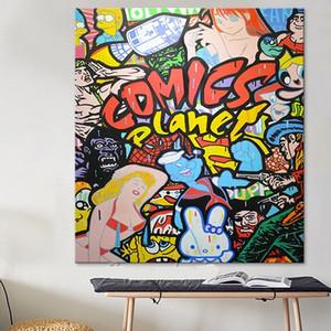 Alec Pintado a mano Impresión HD Graffiti pop arte callejero pintura al óleo Arte de la pared Decoración para el hogar en la lona Múltiples tamaños Opciones de marco g219