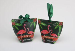 Nuevo fiesta de bodas Favores y regalos Caja de caramelo Sweet Flamingo Favors Favors Bags Caja de caramelo Cajas para invitado
