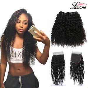 Indiano Kinky Curly Hair Weave 3 Pacotes Com Fechamento Feixes de Cabelo Humano Com Fecho 4 pçs / lote Ofertas trama Indiano Kinky curly cabelo feixes