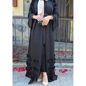 Элегантные взрослые мусульманской Абой Арабских Турецкого Сингапур Aardigan аппликации джилбаб Dubai Одежда Женщина исламского платье Robe Большого размер
