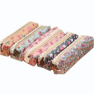 Vendas Hot bonito Cases Kawaii Floral Canvas Flor Zipper caneta lápis Flor Adorável Tecido Bolsas Material Escolar