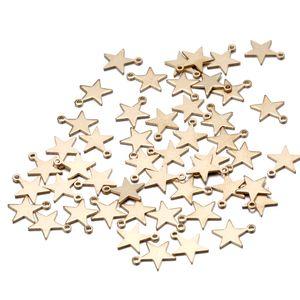 9 * 9mm fünfzackigen stern Charms Anhänger Fit Armband Halskette DIY Schmuck gold farbe kupfer Erkenntnisse Zubehör Großhandel
