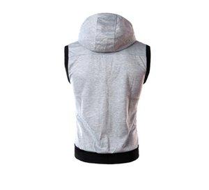 Men's Warm Vest Casual Sweatshirt Spring Vest XN Zipper With Pockets Street Style Drawstring Sleeveless Fit Hoodies Sleeveless Car Kbutt