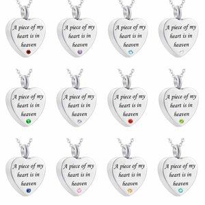 Ein Stück von meinem Herzen ist im Himmel Urne Halskette für Asche Memorial Keepsake Feuerbestattung Anhänger Schmuck Beerdigung Medaillon