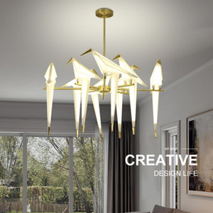Origami moderni Crane Bird Lampade a sospensione Lampade da parete Stile nordico Design creativo Lampada personalità Appeso Sala da pranzo Salone Bar Camera da letto