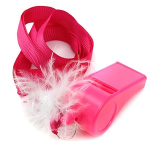 10 unids / lote Hot Pink Hen Party Game Fluffy silbidos con correa Bachelorette Party Girls Night Out Decoración Favor regalos