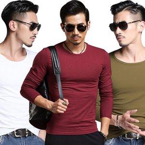 V-cuello Covrlge nuevos hombres forman sólido T-Camisa de manga larga primavera de la camisa delgada de Marca Ropa casual para hombre con cuello en V Tops camiseta para hombre