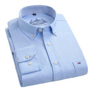 AOWOFS Mens Oxford Camisas 2018 Primavera Moda Algodón Camisa Casual Manga Larga Más Tamaño 4XL camisa social xadrez masculina