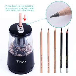 NUEVO Sacapuntas de lápiz eléctrico automático Sacapuntas de lápiz eléctrico Plug + Batteries Doble fuente de alimentación Sacapuntas de lápiz automático