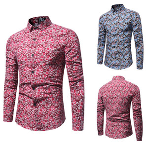 Spring Autumn Mens Long Sleeved Shirts Floral Printed Slim Fit Shirts Turn Down Collar Single Breasted Shirts