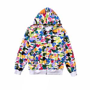 Automne Hiver Nouveau Adolescent Bonbons Couleur Camo Hip Hop Hoodies Amant Cardigan Zipper Lâche Hoodies Sweatshirts