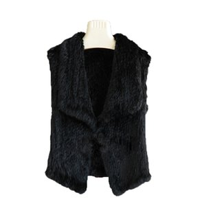 Women's Real Rabbit Fur Waistcoat Vest Knit Short Jacket Sleeveless Coat