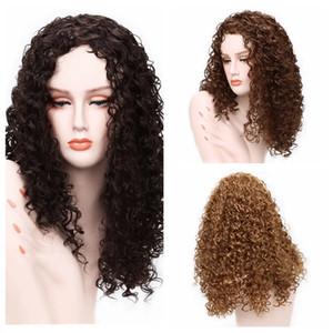 """Женская парик набор 24"""" долго химическое окрашивания волокон с черными африканскими небольшими вьющимися волосами термостойкими синтетической курчавого парика женщин американского"""