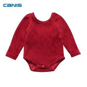 Canis de lujo de navidad recién nacido bebés niñas terciopelo bowknot mamelucos niños mono ropa trajes y18102907