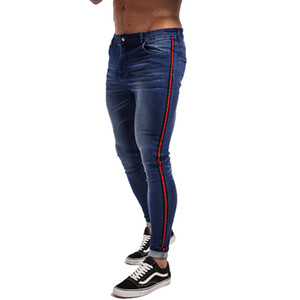 Gingtto Skinny Jeans Hombres Blue Tape Clásico Hip Hop Stretch Jeans Hombre Slim Fit Brand Biker Style Tight Jeans Taping Masculino zm20 S913