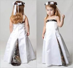 Lovely Camo Vestidos de las muchachas de flores para la boda Correa de espagueti Fiesta para niños Forest Girl Flower Wear Niños Vestidos del desfile por encargo