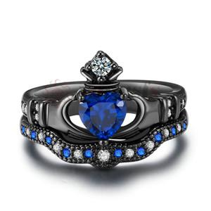 Anéis de Claddagh celta das mulheres Yoursfs coração preto tradicional anel de amizade tamanhos 6-10
