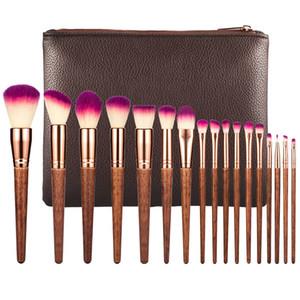 Profesional 17pcs del maquillaje del cepillo del sistema de labios Moda Polvos Brocha Kabuki belleza herramienta kit completo Cosméticos con estuche de cuero