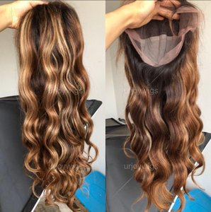 두 톤 옹 브르 하이라이트 레이스 프론트 가발 100 % 말레이시아 처녀 인간의 머리 물결 모양의 전체 레이스 가발 미용 무료 배송 십팔인치 물결