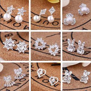 La venta caliente nuevos 45 Estilos Shining Pendientes de circonio cúbico 925 Crystal Rhinestone plata de ley Pendientes de joyería para mujer