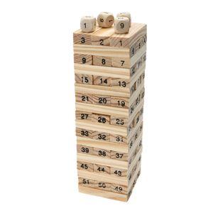 새로운 나무 타워 나무 빌딩 블록 장난감 도미노 54 + 4pcs 스태커 추출물 빌딩 게임 어린이 교육 생일 선물