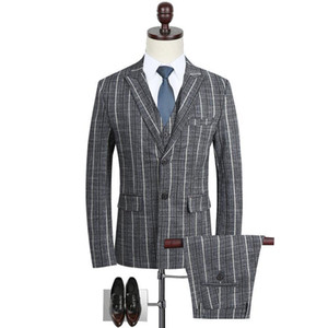 Will Code Business Affairs Masculino Terno Man's Ocupação Vestido Marry Groom Full Dress Gray Stripe