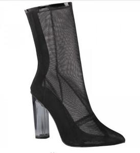 2018 Fashion Week Runway Boots Clear Perspex Heel Mesh Botines transparentes Zapatos de verano Tacones gruesos Clear Woman botines
