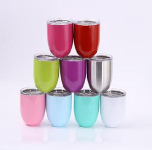 10 أوقية أكواب البيض نظارات كأس النبيذ stemless 304 المقاوم للصدأ أكواب القهوة البيرة مزدوجة الجدار فراغ معزول أكواب مع اغطية واضحة