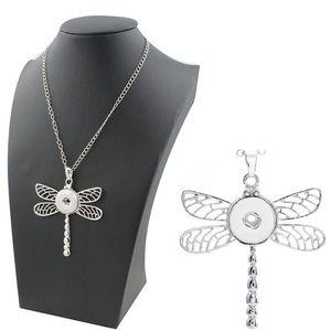2020 de haute qualité NOUVEAU Dragonfly charme Collier avec pendentif snap chaîne en forme 18/20 mm Boutons d'accrochage