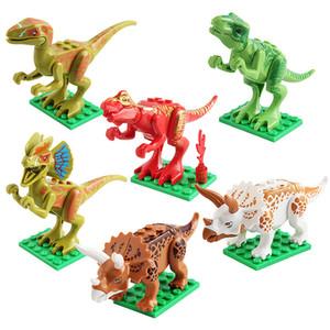 Juguetes educativos para bebés 12pcs Bloques de dinosaurios Ladrillos Dinosaurios Figuras Bloques de construcción Bloques de partículas pequeñas Puzzle ensamblado Juguetes de bricolaje