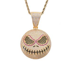 Хип-хоп ледяной эмодзи лицо хэллоуин череп ожерелье с веревочной цепью шику кубический циркон мужской хип-хоп ювелирные изделия