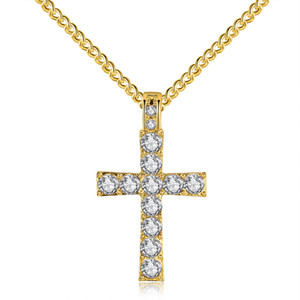 Christian Cross Crucifix Pendant 목걸이 펑크 18K 옐로우 골드 도금 지르콘 CZ Hiphop Mens Long Chain Collier Jewelry