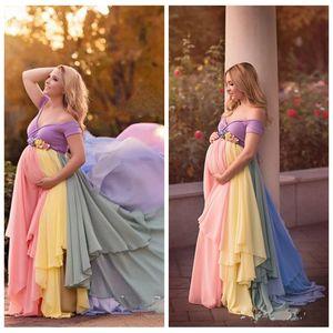 2021 A spalle chiffon colorato abiti da promenade del partito della donna incinta da sera maniche manica corta fiori Sash Dress vesti de soirée