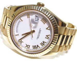 Usine vendeur de haute qualité WristWatches Mens DayDate II 41mm 218238 18K Or jaune automatique mouvement Watch White Roman Dial
