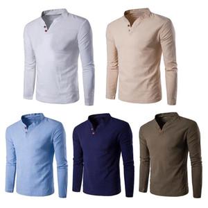 Hombres Moda Color sólido Algodón Lino Stand Collar Pullover Camisas Tops