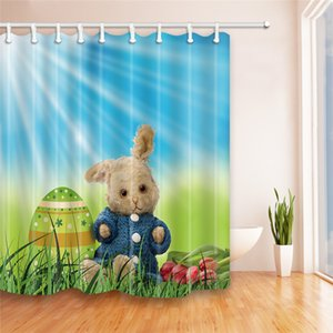 180 * 180cm 부활절 샤워 커튼 5design 폴리 에스테 방수 목욕 커튼 부활절 토끼 계란 3D 인쇄 만화 샤워 커튼 2018 뜨거운