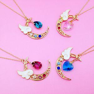 Pingente Coração Pingente de Amor Dos Desenhos Animados Rosa de Cristal Pingente de Colar de Lua Longa Camisola Cadeia anime japonês Sailor Moon camisola cadeia
