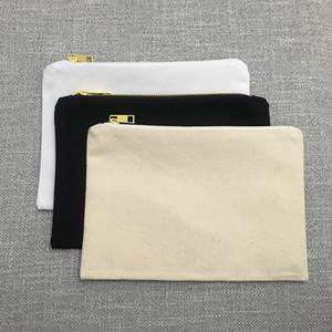 7x10 pouces toile vierge sac à fermeture éclair 100% coton organisateur de maquillage de voyage grand sac cosmétique titulaire de maquillage sac pour la sérigraphie (5 couleurs)