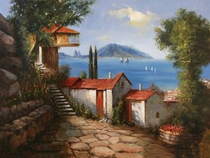 Schöne Seaview House Pure handgemalte Landschaft Kunst Ölgemälde auf Leinwand, Home Decor Wall Art Multi Größen / Rahmen Option l89