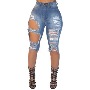 Wholesale Summer Elastic High Waist Women Designer Jeans Denim Knee Lenght Vintage Streetwear Ripped Short Jeans Hole Female Tide Shorts