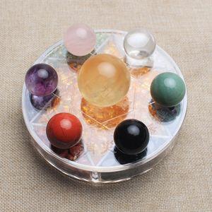 Crystal ball 7 estrelas placa esfera estande caiu lascas de pedras de cura natural Mineral cura reiki fengshui Atacado
