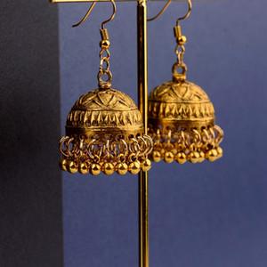 Retro étnico India Jhumka Jhumki pendientes Femme Antique Gold Color tallado Lotus Lantern pendientes de gota para mujer joyería