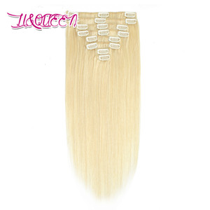 Brazilian Clip In Hair Extensions 8Pcs set Straight Hair 613# Blonde 100g Virgin Human Hair 10-28 Inch 613#
