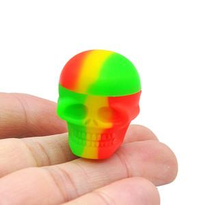 Silicone Container 3 / 15ml Lunghezza 30MM Multi colori Portatile Cranio Forma di silicone Vasi per vaporizzatore olio cera