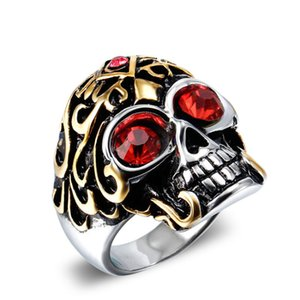 Fashion Vintage Men Rings Punk Rock Style Skull Pattern 18K Plated Ring With CZ Crystals Luxury Ring With Boxes Packing For Men